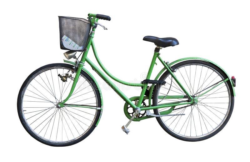 Cesta verde vieja de la pizca de la bicicleta foto de archivo