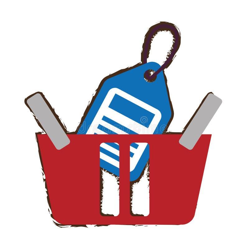Cesta vermelha da cesta que compra o esboço em linha do preço ilustração do vetor