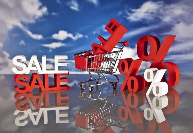 Cesta y ventas de compras ilustración del vector