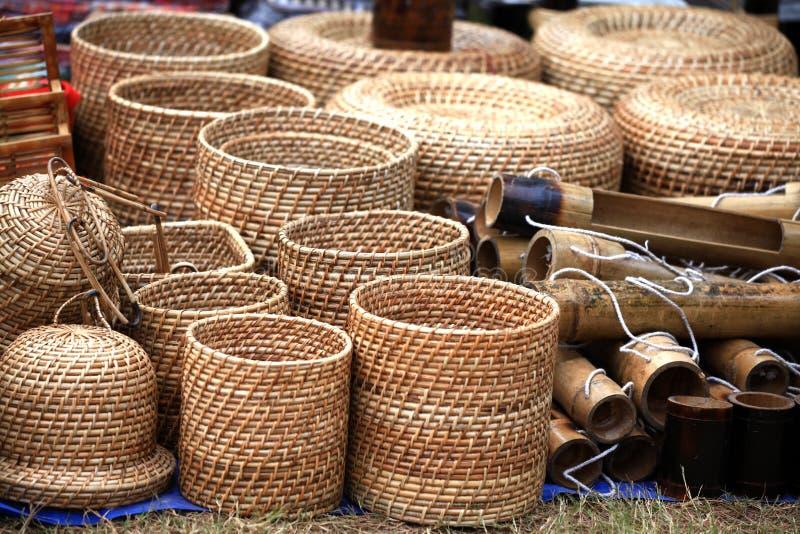 Cestas de bambú fotografía de archivo libre de regalías