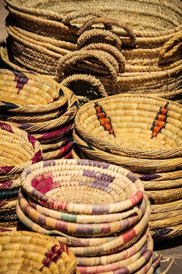 Cestas de vime Ouarzazate marrocos foto de stock