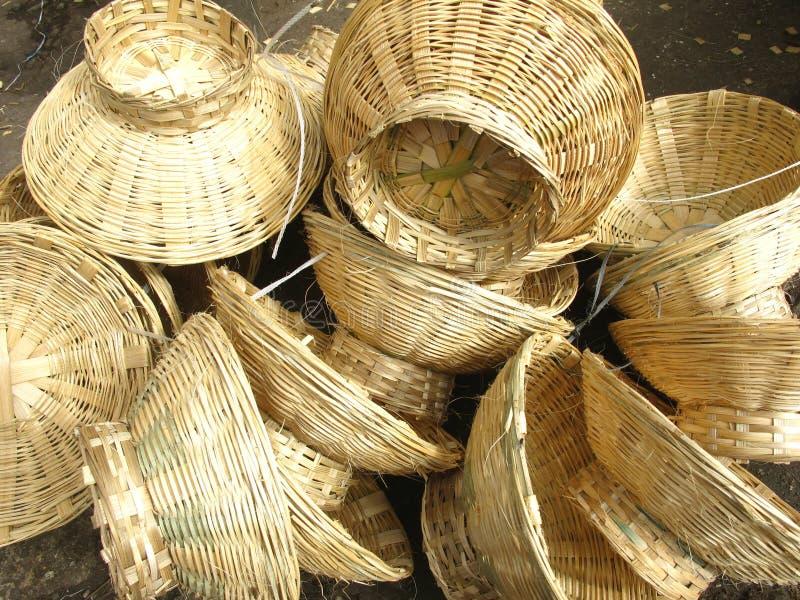Cestini di bambù fotografie stock