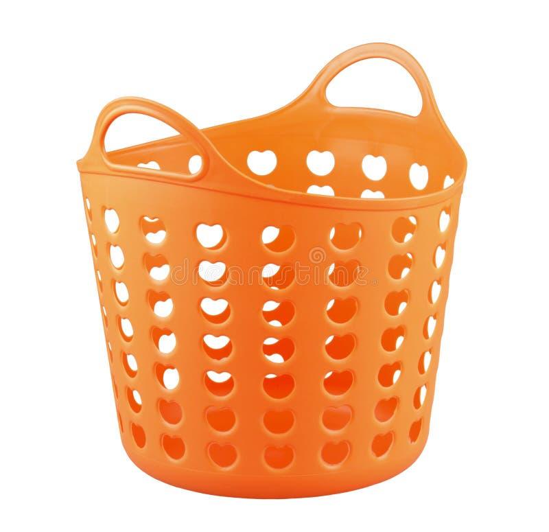 Cestino arancione della plastica di colore immagini stock libere da diritti