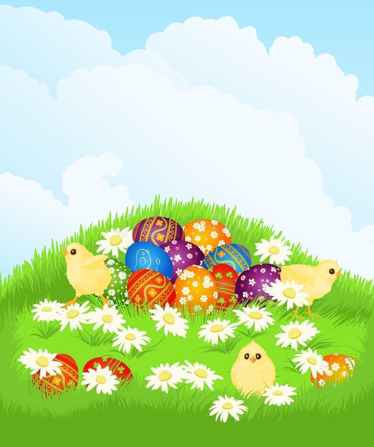 Cestino con le uova di Pasqua ed il pollo illustrazione di stock