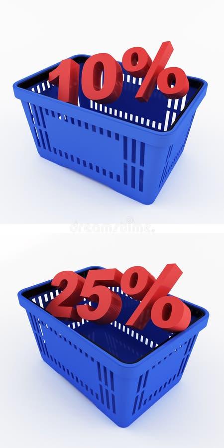 Cestino della spesa blu con gli sconti illustrazione vettoriale
