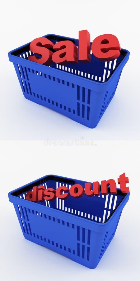 Cestino della spesa blu con gli sconti illustrazione di stock