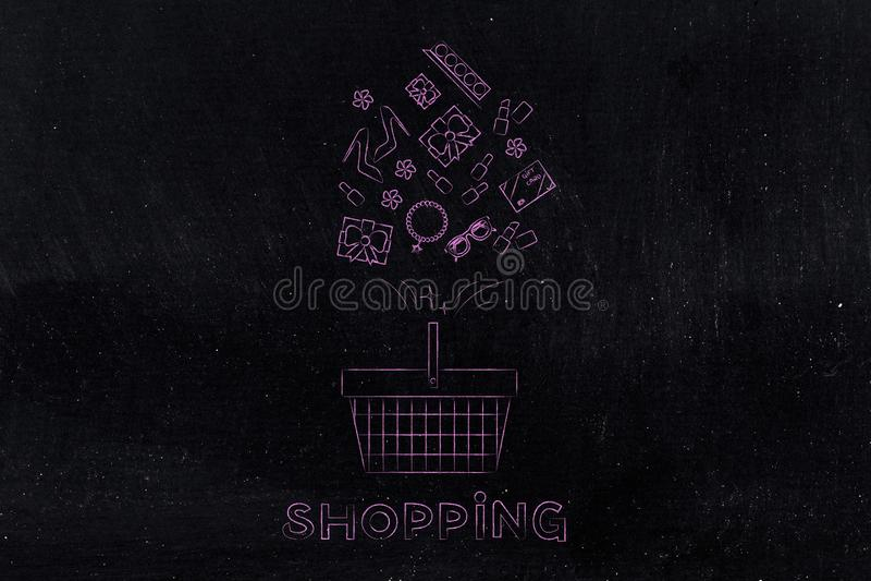 Cestino della spesa con i prodotti misti che volano e nel titolo illustrazione di stock