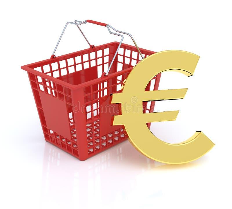 Cestino della spesa con l'euro simbolo illustrazione di stock