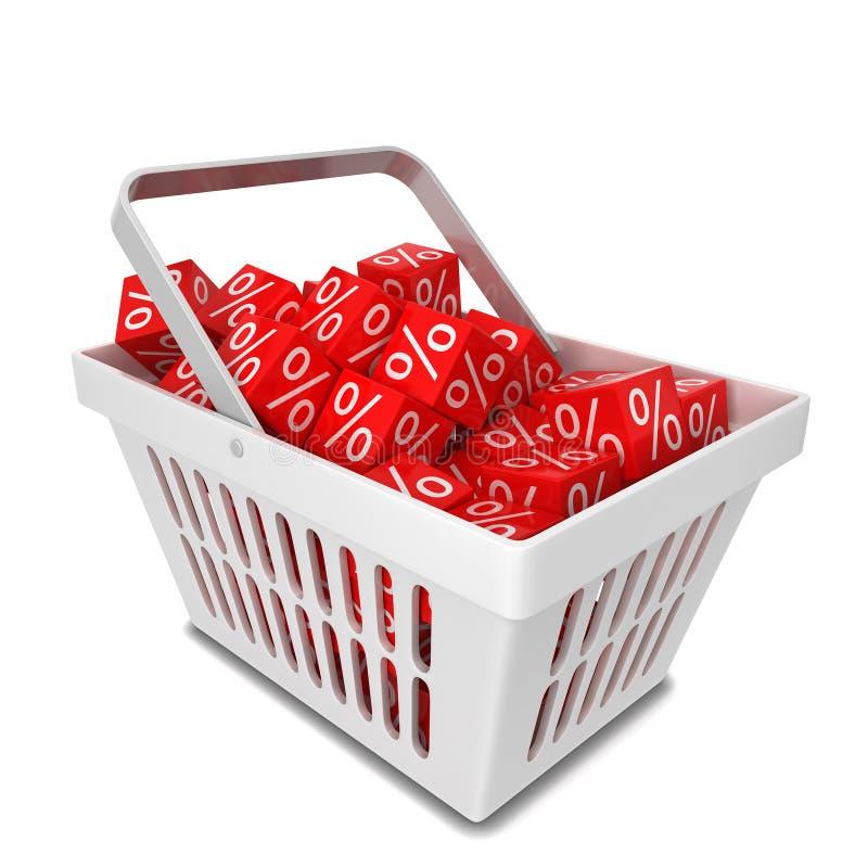 Cestino della spesa con le scatole di sconto di vendita illustrazione di stock