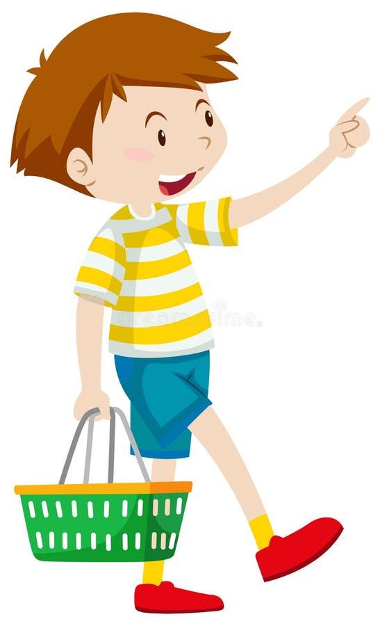 Cestino della spesa della tenuta del ragazzino illustrazione di stock