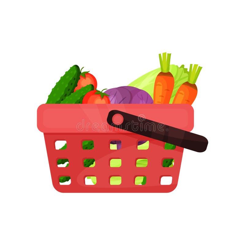 Cestino della spesa di plastica rosso in pieno degli ortaggi freschi Alimento naturale e sano Prodotti di fattoria organici Icona illustrazione di stock