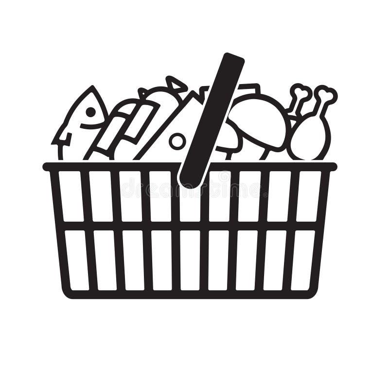 Cestino della spesa della drogheria con alimento C'è pesce, funghi, formaggio, pollo, salsiccia Icona stilizzata per la vostra pr royalty illustrazione gratis