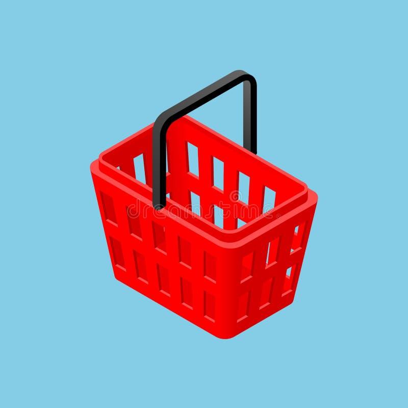 Cestino della spesa isometrico del supermercato 3d per il negozio del deposito di convinience isolato su fondo blu-chiaro Questo  illustrazione vettoriale