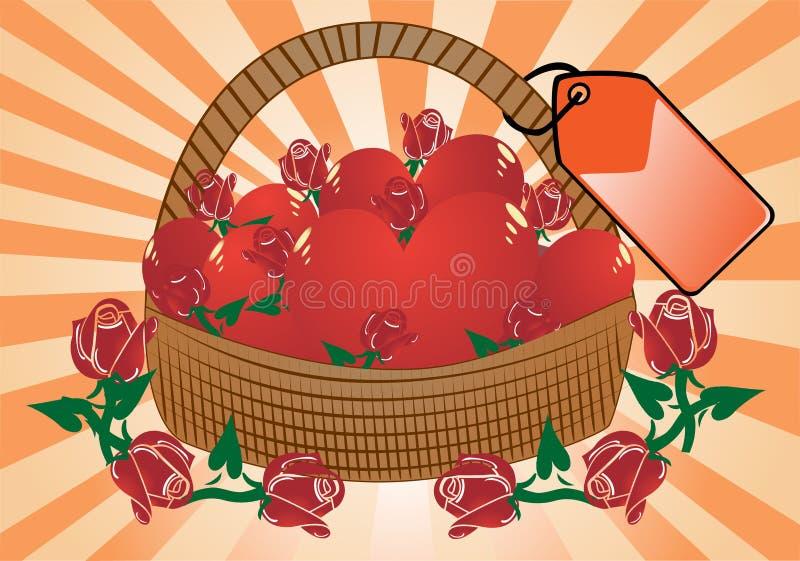 Cestino delle rose e dei cuori illustrazione di stock