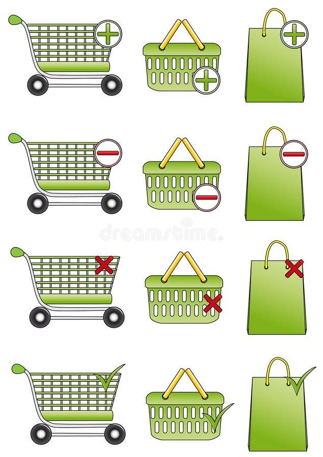 Cestino di acquisto, carrello ed icone del sacchetto illustrazione vettoriale