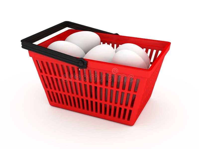 Cestino di acquisto con le uova sopra priorità bassa bianca royalty illustrazione gratis