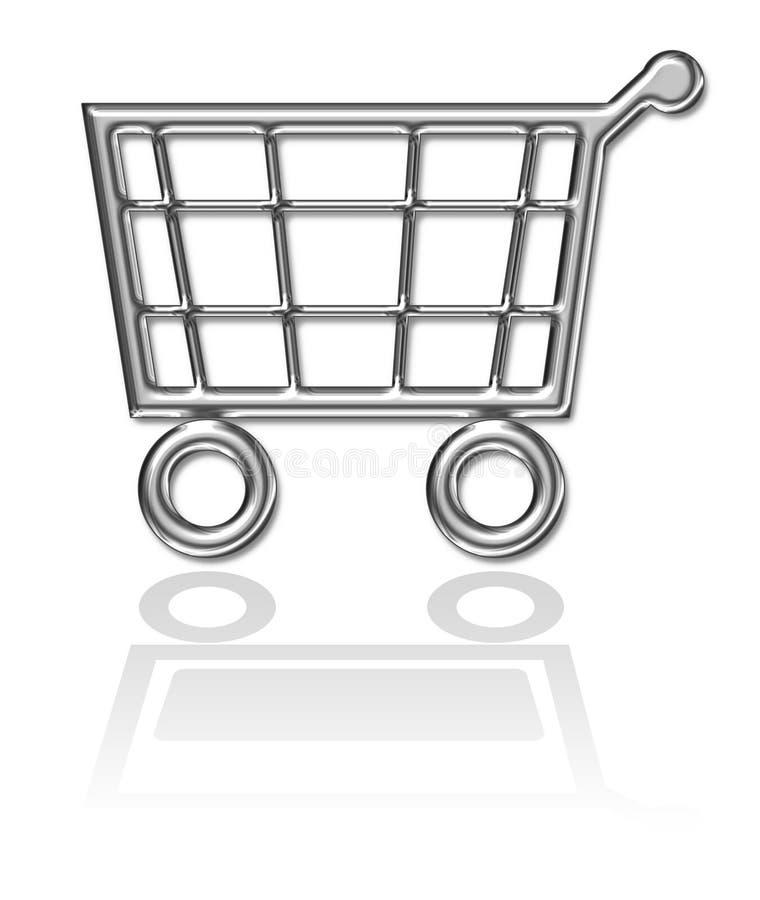 Cestino di acquisto, tasto del carrello illustrazione di stock