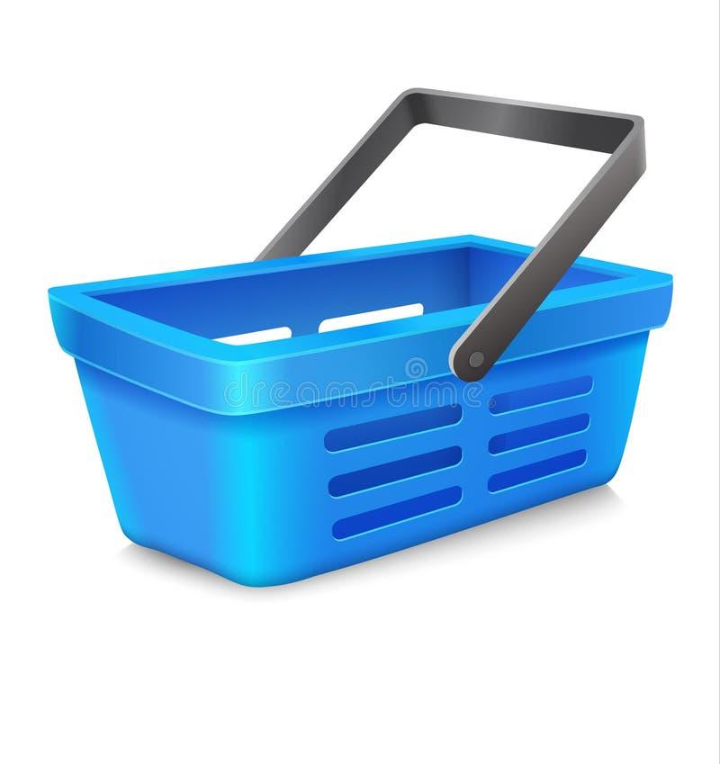 Cesto de compras azul do vetor a introduzir no mercado ilustração do vetor