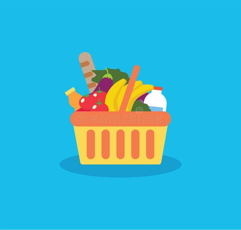 Cesto de compras com alimentos frescos e bebida Compre o mantimento no sup ilustração royalty free