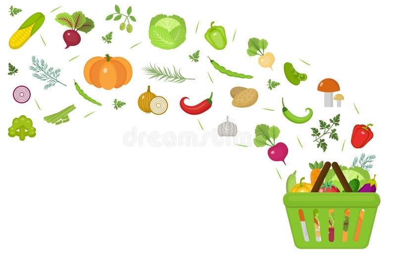 Cesto de compras com legumes frescos Projeto liso Espaço da bandeira para o texto, isolado no fundo branco Saudável ilustração stock
