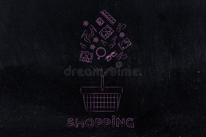 Cesto de compras com os produtos misturados que voam nele e no subtítulo ilustração stock