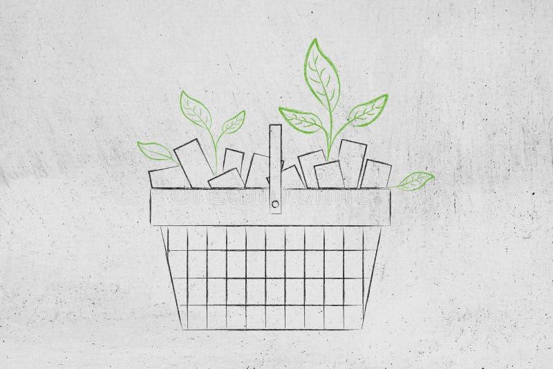 Cesto de compras completamente de produtos e com as folhas que crescem fora de ilustração do vetor