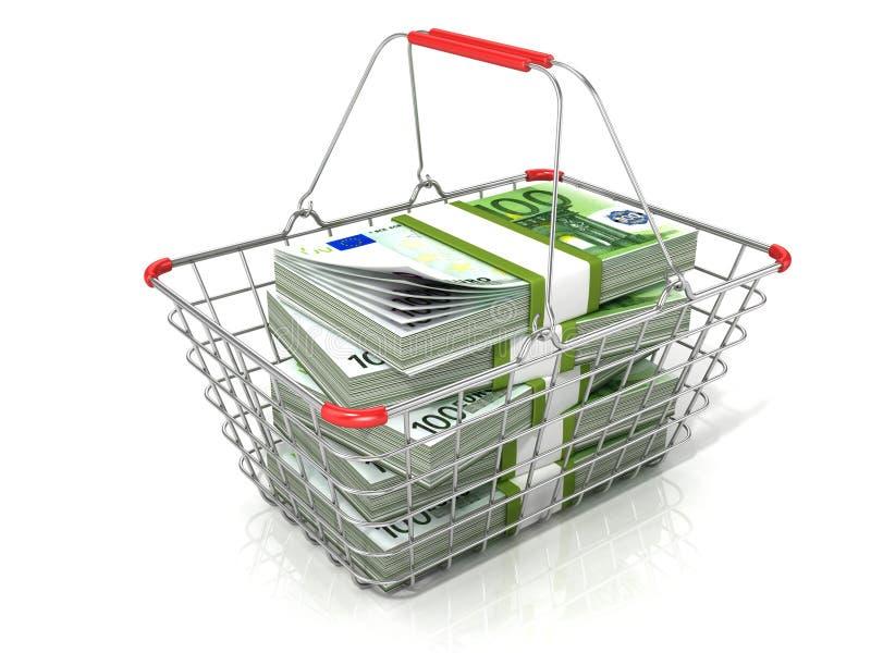 Cesto de compras do fio de aço completamente de pilhas dos euro ilustração do vetor
