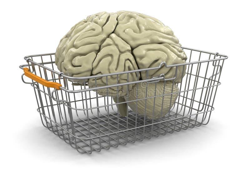 Cesto de compras e cérebro (trajeto de grampeamento incluído) ilustração royalty free
