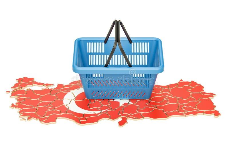 Cesto de compras no mapa turco, cesta do mercado ou powe comprar ilustração stock