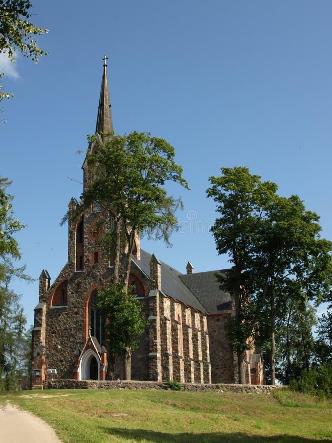 Cesvaine Ewangelicki Luterański kościół jest wielkim wiejskim kościół w Latvia fotografia royalty free