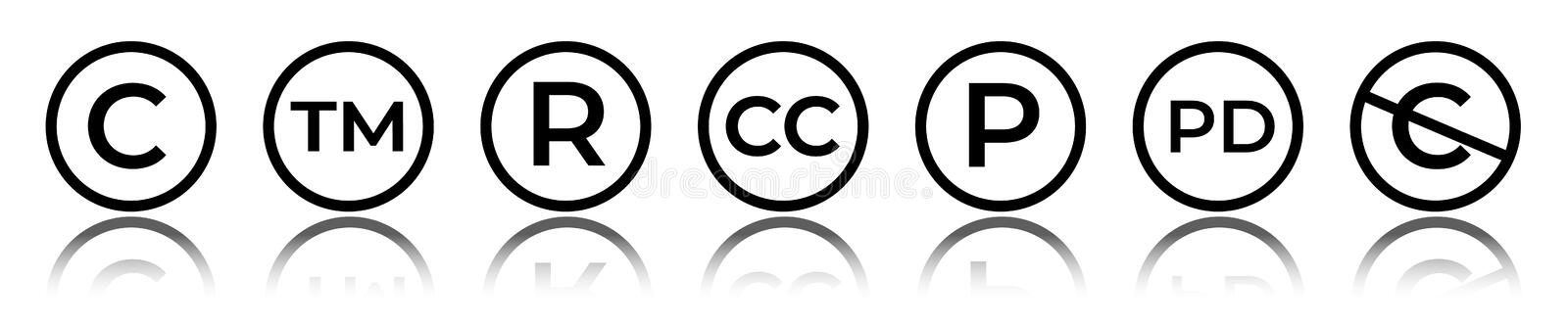 Cet of circular copyright and trademark icons. Right reserved signs. Cet of circular copyright and trademark icons. Right reserved signs vector illustration