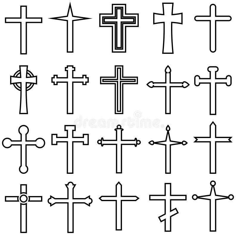 Cet cruzado cristiano de los iconos del vector Ejemplo cruzado cristiano del icono Colección cruzada cristiana del símbolo stock de ilustración