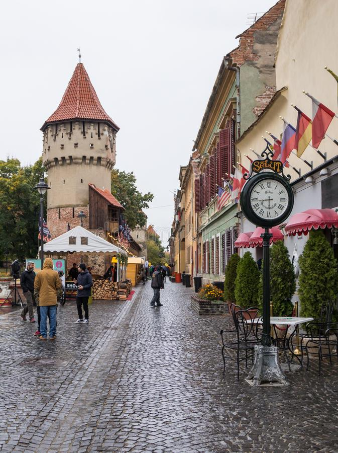 The Cetatii street in a rainy day in Sibiu city in Romania stock images
