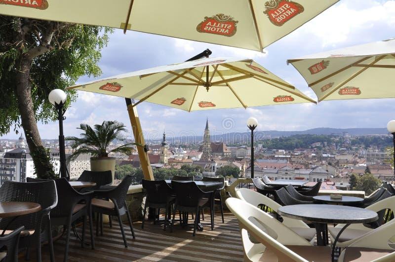 Cetatuia Park Terrace in Cluj-Napoca town from Transylvania region in Romania royalty free stock photos