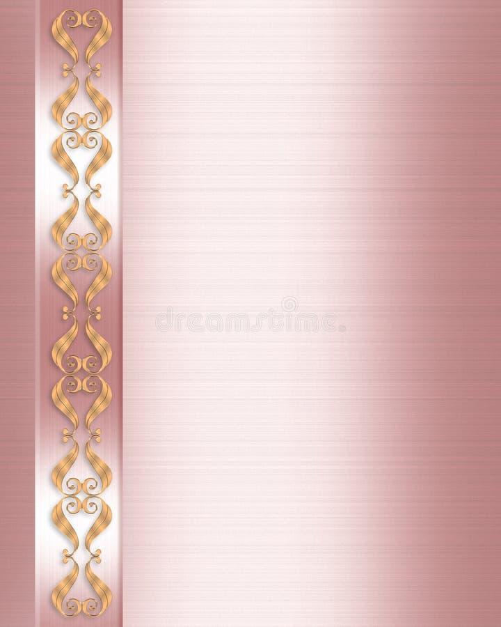 Cetim da cor-de-rosa da beira do convite do casamento ilustração royalty free