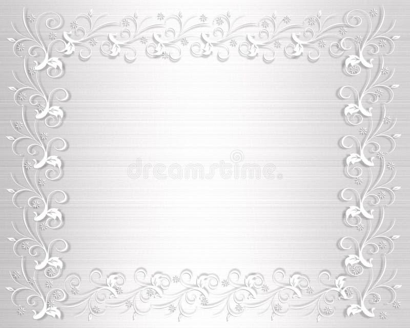 Cetim do branco da beira do convite do casamento ilustração royalty free