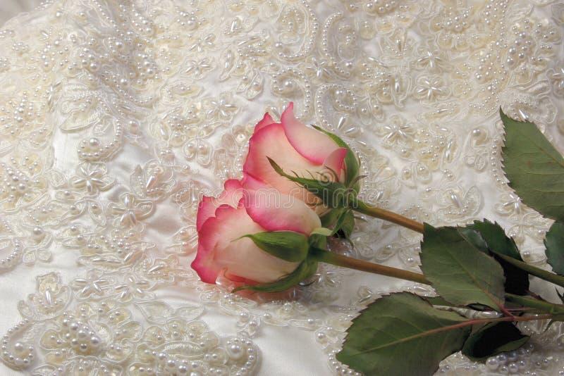 Cetim frisado e rosas imagem de stock