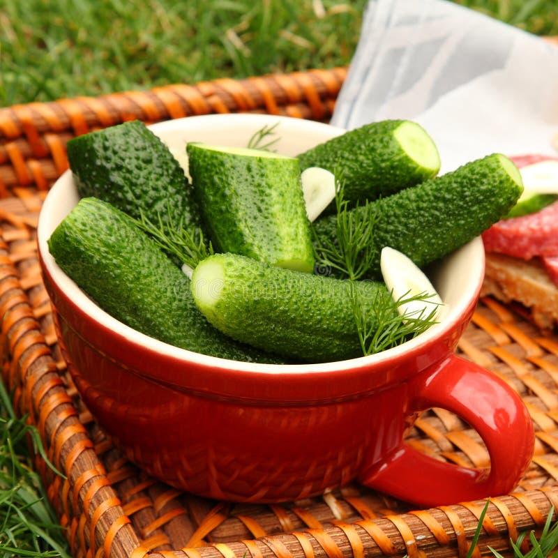 Cetrioli salati freschi casalinghi nella ciotola sul vassoio di vimini immagini stock libere da diritti
