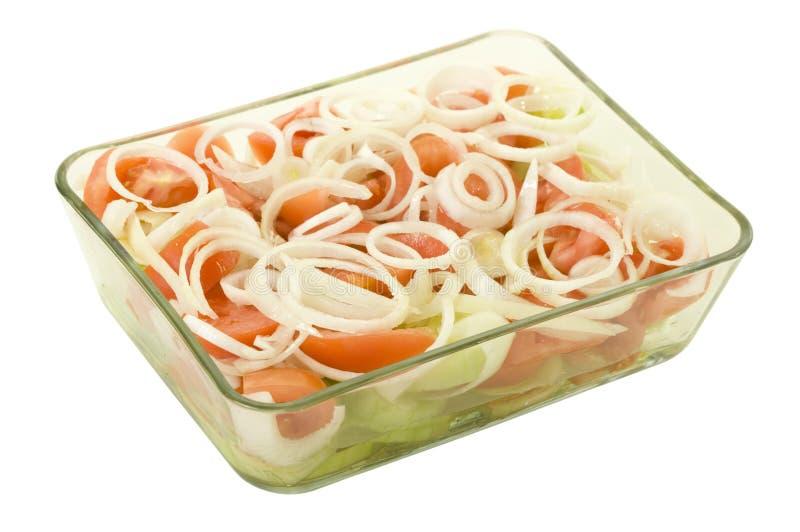 Cetriolo del pomodoro ed insalata della cipolla immagine stock