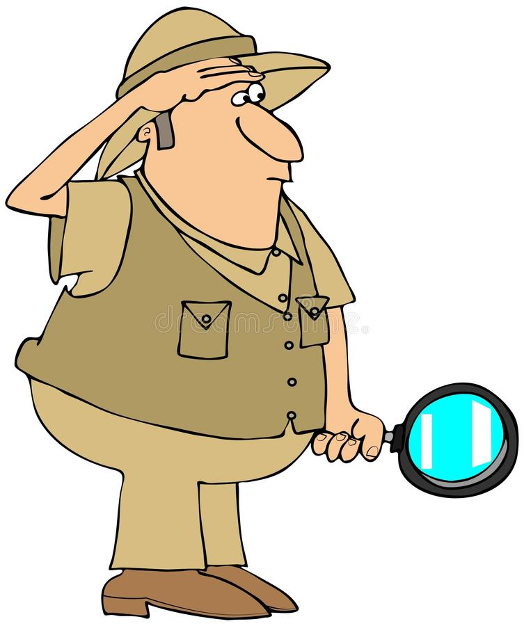 Homme de safari avec la loupe illustration stock