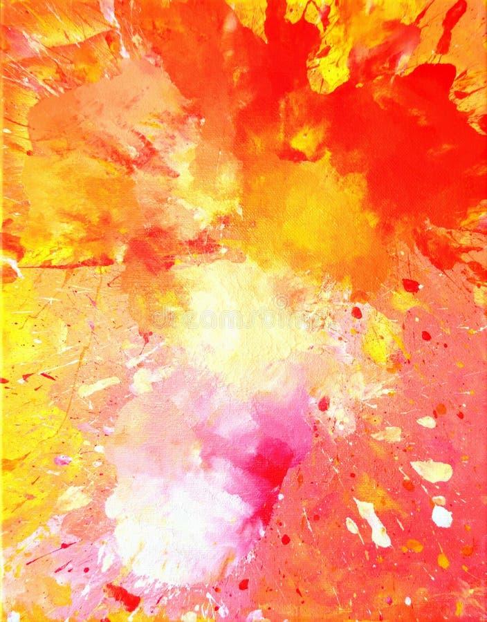 Rose et peinture orange d'art abstrait photos libres de droits