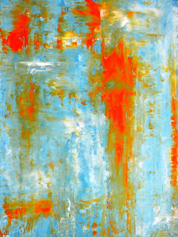 Teal et peinture orange d'art abstrait photos stock