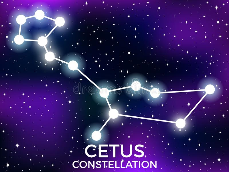 Cetus constellation. Starry night sky. Cluster of stars and galaxies. Deep space. Vector. Illustration vector illustration