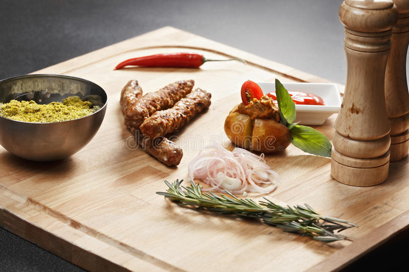 Cevapcici sausages meal stock images