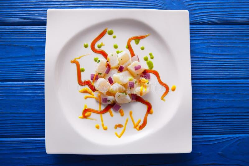 Ceviche食谱现代美食术样式 免版税图库摄影