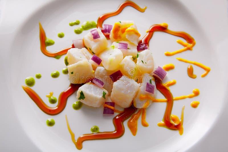 Ceviche食谱现代美食术样式 免版税库存照片