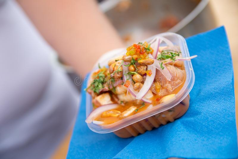 Ceviche dish Peruvian food served royalty free stock photos