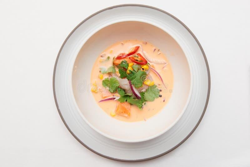 Ceviche för havsbas som skjutas från över royaltyfri foto