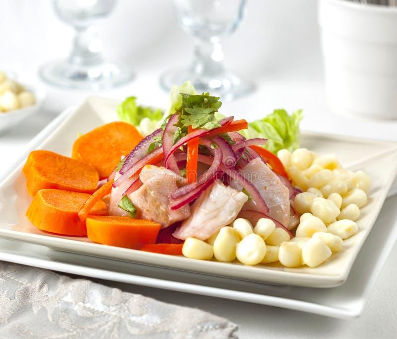 Ceviche maträtt från Peru och Sydamerika arkivfoto