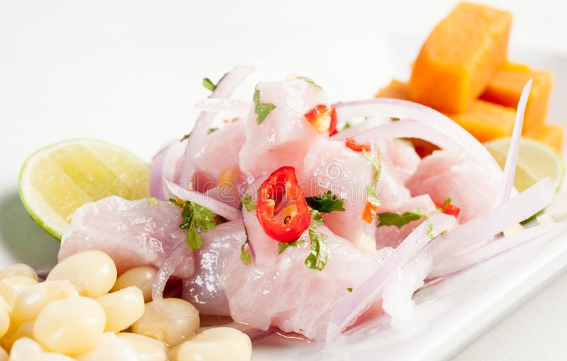 Ceviche Rå fisk som marineras på limefruktfruktsaft royaltyfri bild
